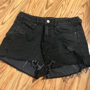 H&M black ripped distressed destroyed denim shorts